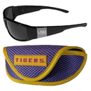 Siskiyou Buckle LSU Tigers Chrome Wrap Sunglasses and Sport Carrying Case, 2CCW43SC