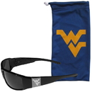 Siskiyou Buckle W. Virginia Mountaineers Etched Chrome Wrap Sunglasses and Bag, 2CCW60EB