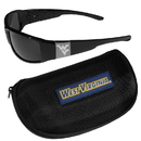Siskiyou Buckle W. Virginia Mountaineers Chrome Wrap Sunglasses and Zippered Carrying Case, 2CCW60HC