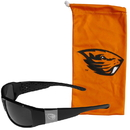 Siskiyou Buckle Oregon St. Beavers Etched Chrome Wrap Sunglasses and Bag, 2CCW72EB