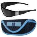 Siskiyou Buckle N. Carolina Tar Heels Chrome Wrap Sunglasses and Sport Carrying Case, 2CCW9SC