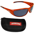 Siskiyou Buckle 2CSG3CH Nebraska Cornhuskers Wrap Sunglass and Case Set