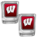 Siskiyou Buckle 2CSQP51 Wisconsin Badgers Square Glass Shot Glass Set