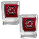 Siskiyou Buckle 2CSQP63 S. Carolina Gamecocks Square Glass Shot Glass Set