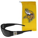 Siskiyou Buckle Minnesota Vikings Chrome Wrap Sunglasses and Bag, 2FCP165EB