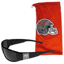 Siskiyou Buckle Tampa Bay Buccaneers Etched Chrome Wrap Sunglasses and Bag, 2FCW030EB