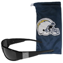 Siskiyou Buckle Los Angeles Chargers Etched Chrome Wrap Sunglasses and Bag, 2FCW040EB