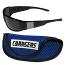 Siskiyou Buckle Los Angeles Chargers Chrome Wrap Sunglasses and Sports Case, 2FCW040SC