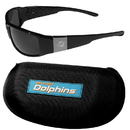 Siskiyou Buckle Miami Dolphins Chrome Wrap Sunglasses and Zippered Carrying Case, 2FCW060HC