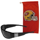 Siskiyou Buckle San Francisco 49ers Etched Chrome Wrap Sunglasses and Bag, 2FCW075EB