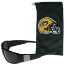 Siskiyou Buckle Green Bay Packers Etched Chrome Wrap Sunglasses and Bag, 2FCW115EB