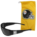Siskiyou Buckle Pittsburgh Steelers Etched Chrome Wrap Sunglasses and Bag, 2FCW160EB