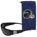 Siskiyou Buckle Baltimore Ravens Etched Chrome Wrap Sunglasses and Bag, 2FCW180EB