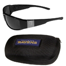Siskiyou Buckle Baltimore Ravens Chrome Wrap Sunglasses and Zippered Carrying Case, 2FCW180HC