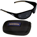 Siskiyou Buckle 2FSG180CH Baltimore Ravens Wrap Sunglass and Case Set