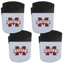Siskiyou Buckle Mississippi St. Bulldogs Chip Clip Magnet with Bottle Opener, 4 pack, 4CPMC45