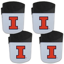 Siskiyou Buckle Illinois Fighting Illini Chip Clip Magnet with Bottle Opener, 4 pack, 4CPMC55
