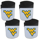 Siskiyou Buckle W. Virginia Mountaineers Chip Clip Magnet with Bottle Opener, 4 pack, 4CPMC60
