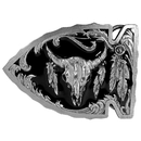 Siskiyou Buckle Buffalo Skull in Arrowhead Enameled Belt Buckle, A3D
