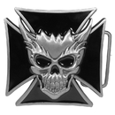 Siskiyou Buckle A9 Skull and Maltese Cross Enameled Belt Buckle