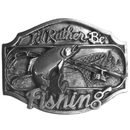Siskiyou Buckle AG26 I'd Rather Be Fishing  Antiqued Belt Buckle