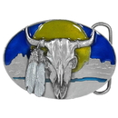 Siskiyou Buckle AG30E Buffalo Skull/Feathers Enameled Belt Buckle