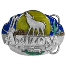 Siskiyou Buckle AG48E Arizona Howling Wolf Enameled Belt Buckle