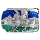Siskiyou Buckle AG75E Indian on Horse - Enameled Belt Buckle