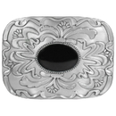 Siskiyou Buckle AS1B Black Stone with Western Scroll Rhinestone Belt Buckle