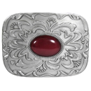 Siskiyou Buckle AS1C Red Stone with Western Scroll Rhinestone Belt Buckle