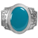 Siskiyou Buckle Blue Stone Enameled Belt Buckle, AS2A