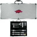 Siskiyou Buckle BBQC12B Arkansas Razorbacks 8 pc Stainless Steel BBQ Set w/Metal Case