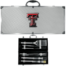 Siskiyou Buckle BBQC30B Texas Tech Raiders 8 pc Stainless Steel BBQ Set w/Metal Case
