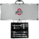 Siskiyou Buckle BBQC38B Ohio St. Buckeyes 8 pc Stainless Steel BBQ Set w/Metal Case