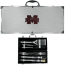 Siskiyou Buckle BBQC45B Mississippi St. Bulldogs 8 pc Stainless Steel BBQ Set w/Metal Case
