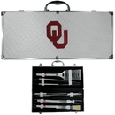 Siskiyou Buckle BBQC48B Oklahoma Sooners 8 pc Stainless Steel BBQ Set w/Metal Case