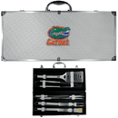 Siskiyou Buckle BBQC4B Florida Gators 8 pc Stainless Steel BBQ Set w/Metal Case