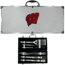 Siskiyou Buckle BBQC51B Wisconsin Badgers 8 pc Stainless Steel BBQ Set w/Metal Case