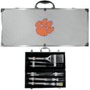 Siskiyou Buckle BBQC69B Clemson Tigers 8 pc Stainless Steel BBQ Set w/Metal Case