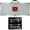 Siskiyou Buckle BBQF010B Cincinnati Bengals 8 pc Stainless Steel BBQ Set w/Metal Case