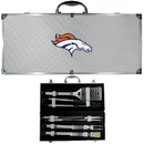 Siskiyou Buckle BBQF020B Denver Broncos 8 pc Stainless Steel BBQ Set w/Metal Case