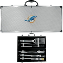 Siskiyou Buckle BBQF060B Miami Dolphins 8 pc Stainless Steel BBQ Set w/Metal Case