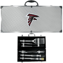Siskiyou Buckle BBQF070B Atlanta Falcons 8 pc Stainless Steel BBQ Set w/Metal Case