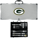 Siskiyou Buckle BBQF115B Green Bay Packers 8 pc Stainless Steel BBQ Set w/Metal Case