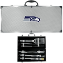 Siskiyou Buckle BBQF155B Seattle Seahawks 8 pc Stainless Steel BBQ Set w/Metal Case