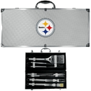 Siskiyou Buckle BBQF160B Pittsburgh Steelers 8 pc Stainless Steel BBQ Set w/Metal Case