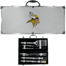 Siskiyou Buckle BBQF165B Minnesota Vikings 8 pc Stainless Steel BBQ Set w/Metal Case