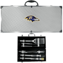 Siskiyou Buckle BBQF180B Baltimore Ravens 8 pc Stainless Steel BBQ Set w/Metal Case