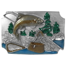 Siskiyou Buckle C85E Fish with Gear Background Enameled Belt Buckle