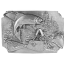 Siskiyou Buckle Fish with Gear Background Antiqued Belt Buckle, C85